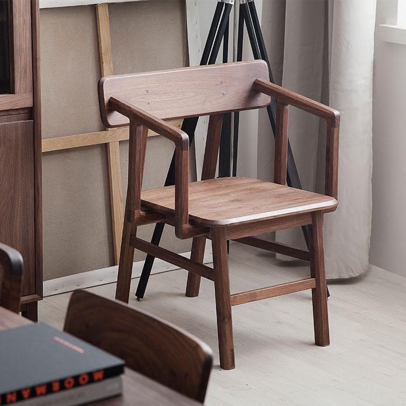 千住明【厌式房间】实木胡桃木扶手椅圈椅围椅餐椅现代简约 北欧文艺