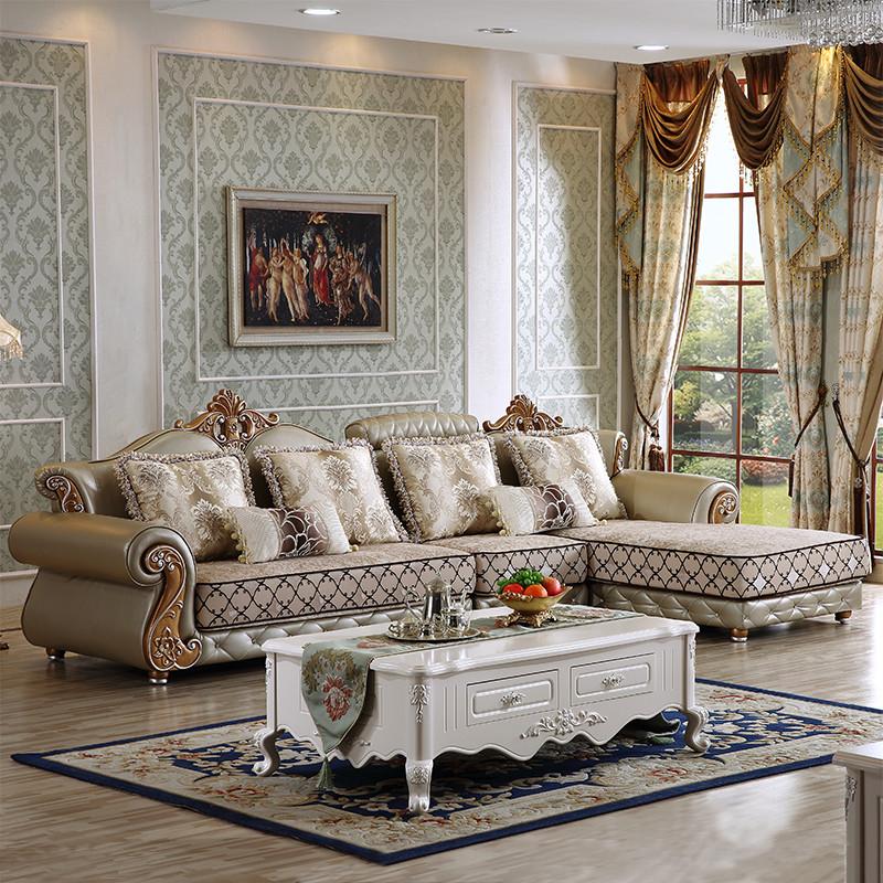 千住明欧式皮配布沙发 简欧贵妃客厅布艺沙发组合可拆洗转角实木沙发