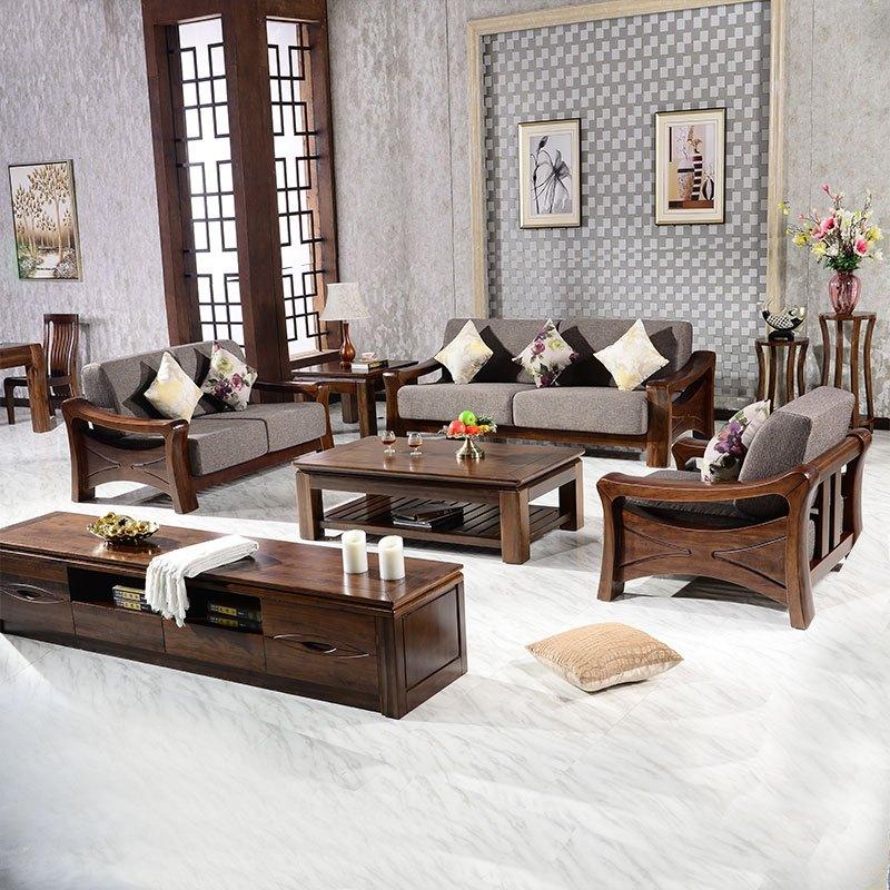 千住明胡桃木沙发组合全实木北美黑胡桃木家具现代中式核桃木沙发茶几