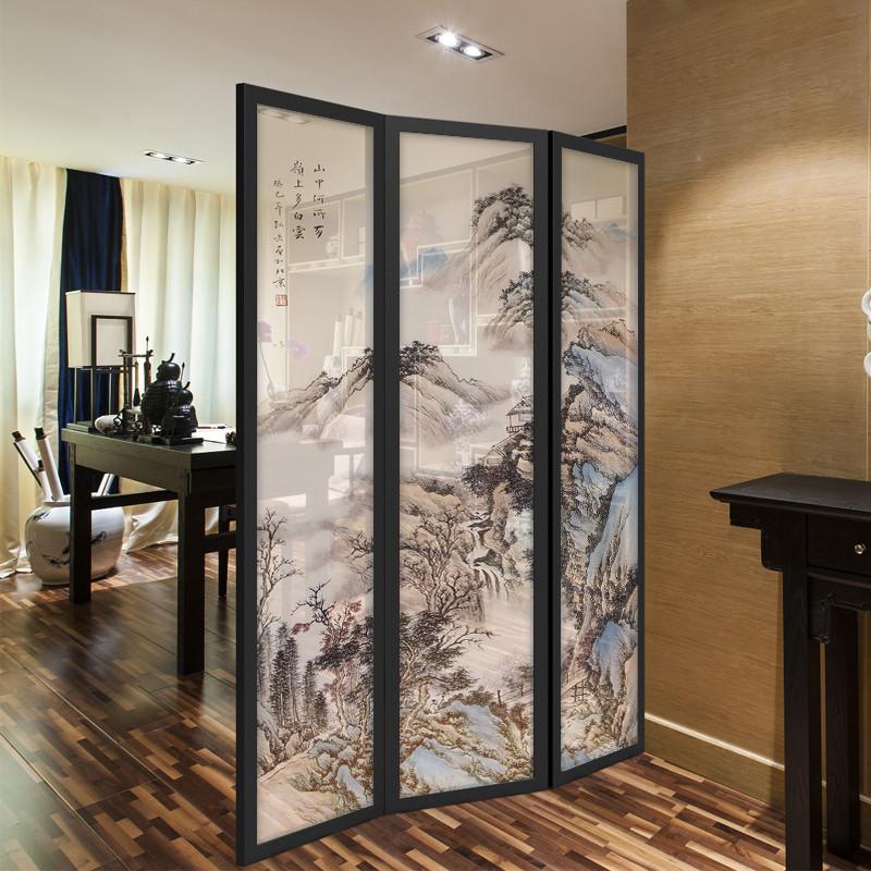 千住明新中式可移动屏风折屏客厅书房玄关隔断屏风国画山水个性定制图片
