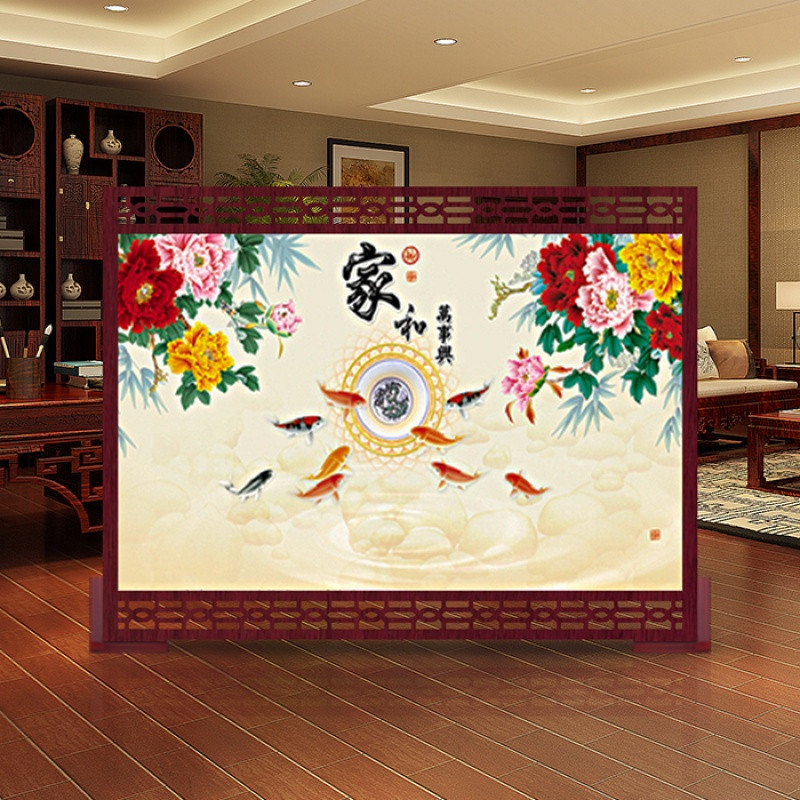 明中式屏风隔断客厅 实木镂空座屏定制办公室客厅书房餐厅九鱼聚财