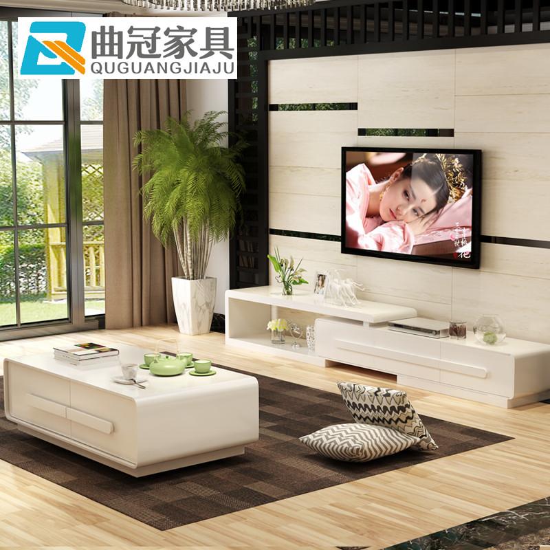 曲冠 电视柜 现代简约客厅钢琴烤漆可伸缩电视柜 地柜原木色大小户型