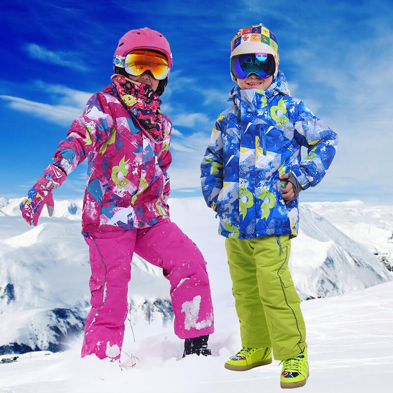 新款冬儿童滑雪服套装男女童户外登山服加厚雪乡保暖棉服滑雪衣裤