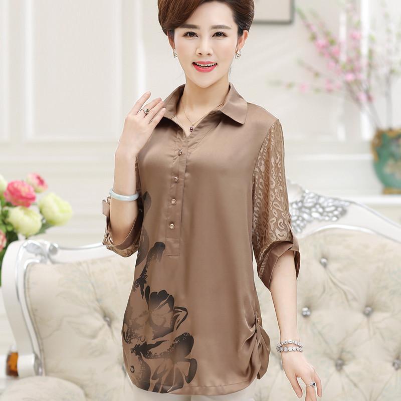 雪纺衫�z(���-�i#�(�_妈妈装衬衫中老年女装4050岁衬衣雪纺衫中长袖上衣中年妇女夏装