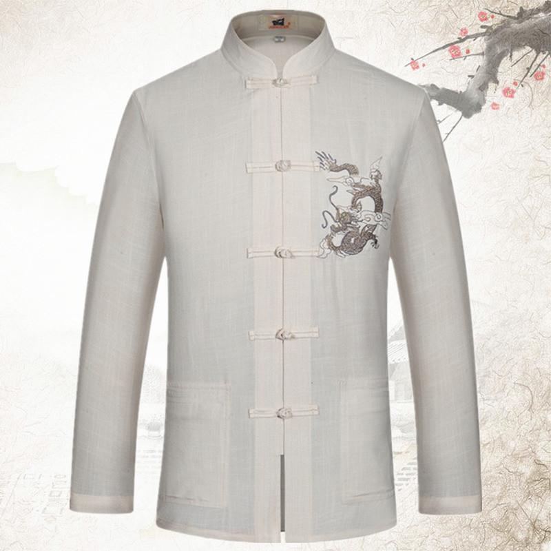 春夏季唐裝男長袖亞麻中國風棉麻居士服中老年人男士禪服中式襯衫圖片