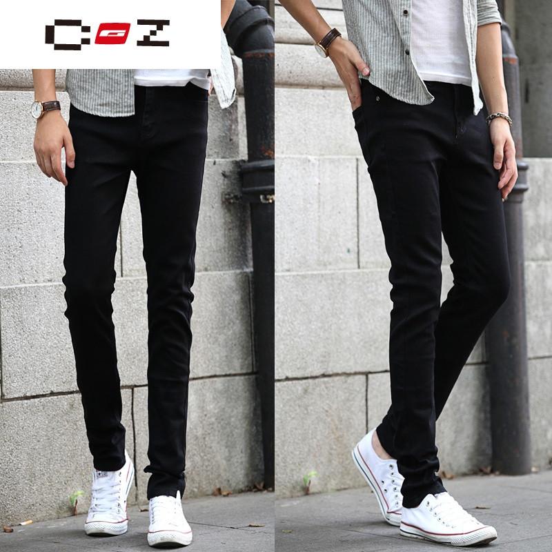 CZ潮流品牌男士牛仔裤小脚修身型青少年紧身