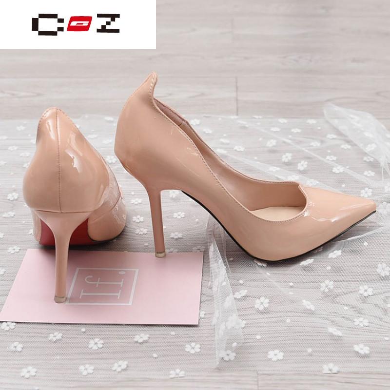 cz潮流品牌xx760 曼斯*勒 2017春季浅口细高跟休闲鞋女士ol工作鞋裸色