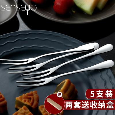 senseyo 不銹鋼水果叉 不銹鋼蛋糕叉 創意叉子 甜品叉水果簽5支裝 水果叉五只裝