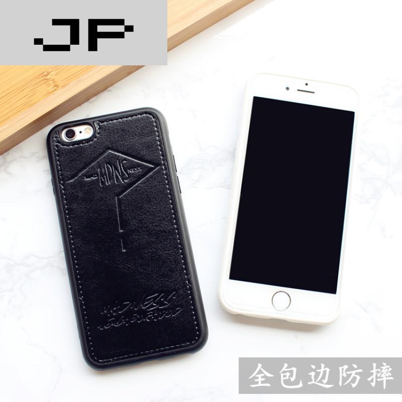 jp潮流品牌欧美简约黑白苹果6s皮套挂绳手机壳iphone6