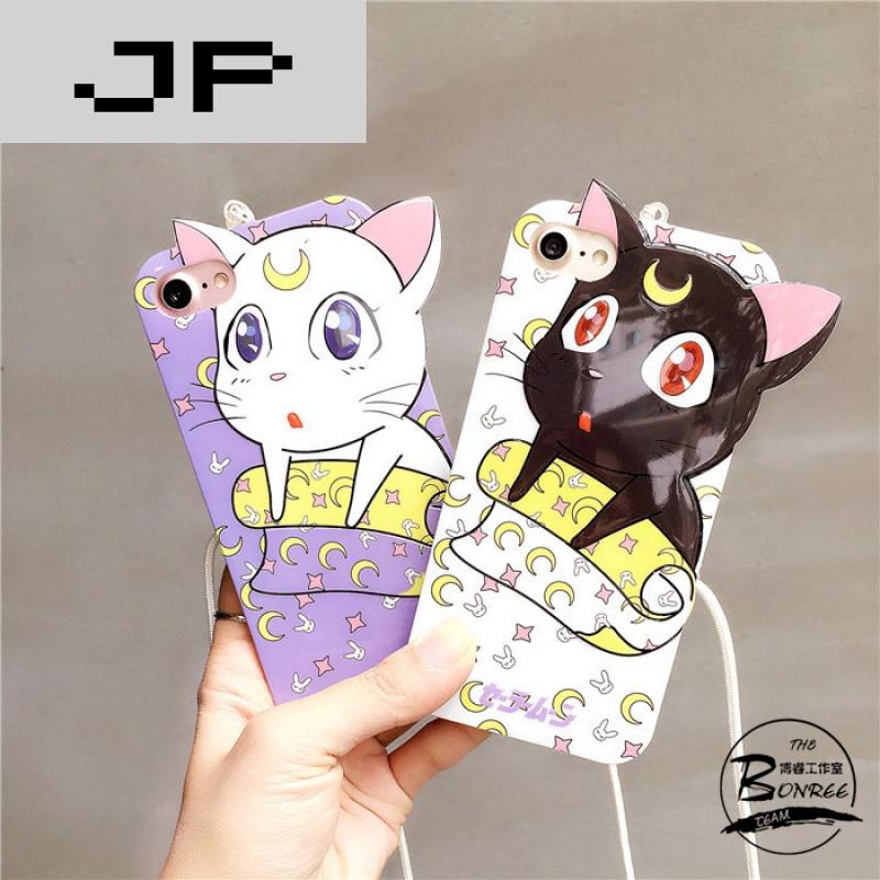 jp潮流品牌可爱卡通猫咪挂绳苹果7手机壳iphone7/6/6s