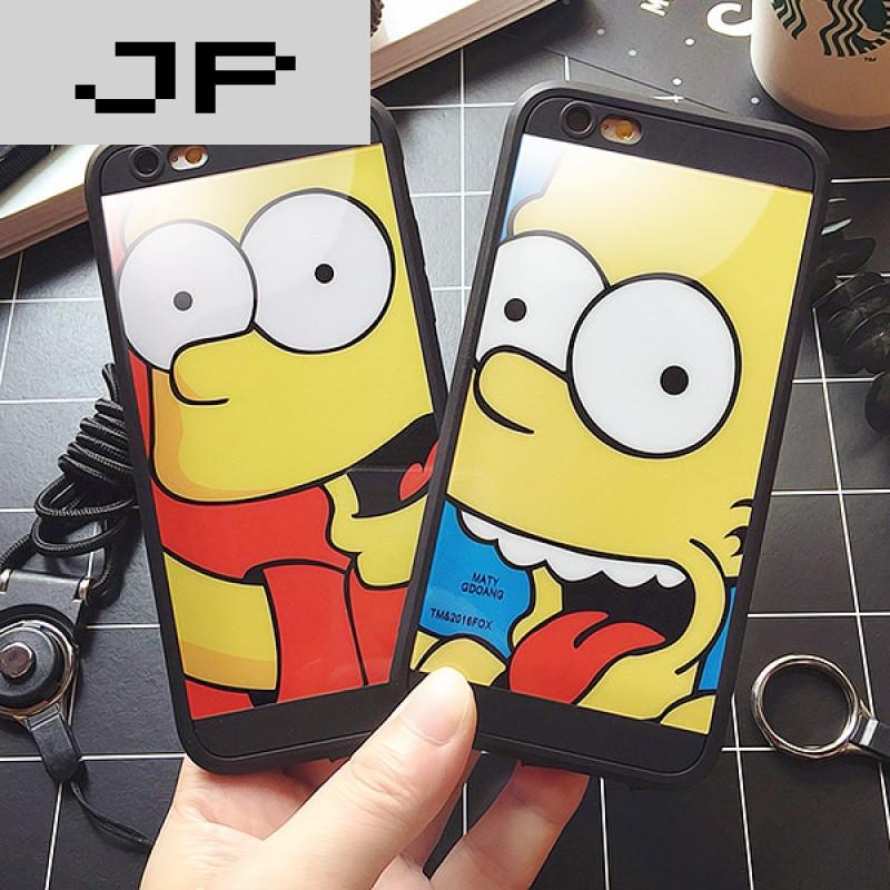 jp潮流品牌个性辛普森苹果6手机壳iphone6plus软胶全包se/5s挂绳壳6p