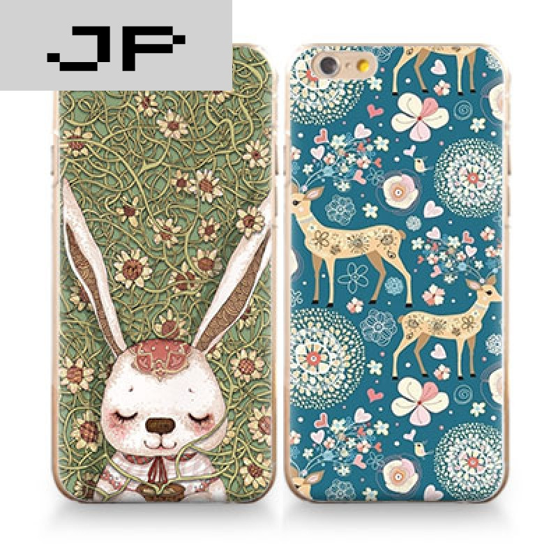 jp潮流品牌iphone7苹果6s手机壳6plus硅胶全包软壳5s情侣森系浮雕潮