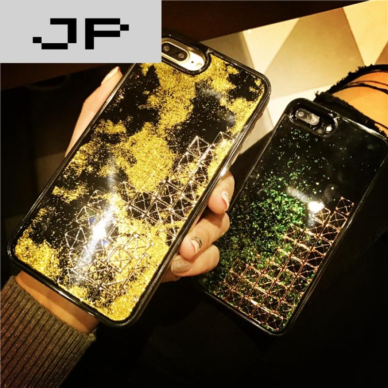 jp潮流品牌金色闪粉动态流沙苹果7手机壳iphone7plus软边硅胶挂绳黑女