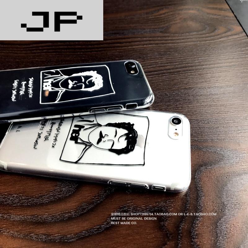 jp潮流品牌韩国ins风苹果6/7手机壳极简人像线条iphone7/6splus保护
