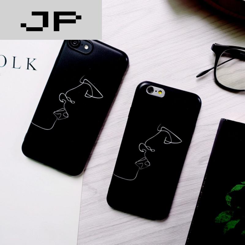 jp潮流品牌简约文艺人物线条苹果6plus手机壳苹果7磨砂iphone7plus