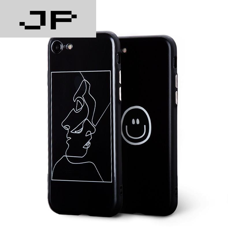 jp潮流品牌 iphone6s/plus手机壳苹果七黑色边框半透文艺简约保护套