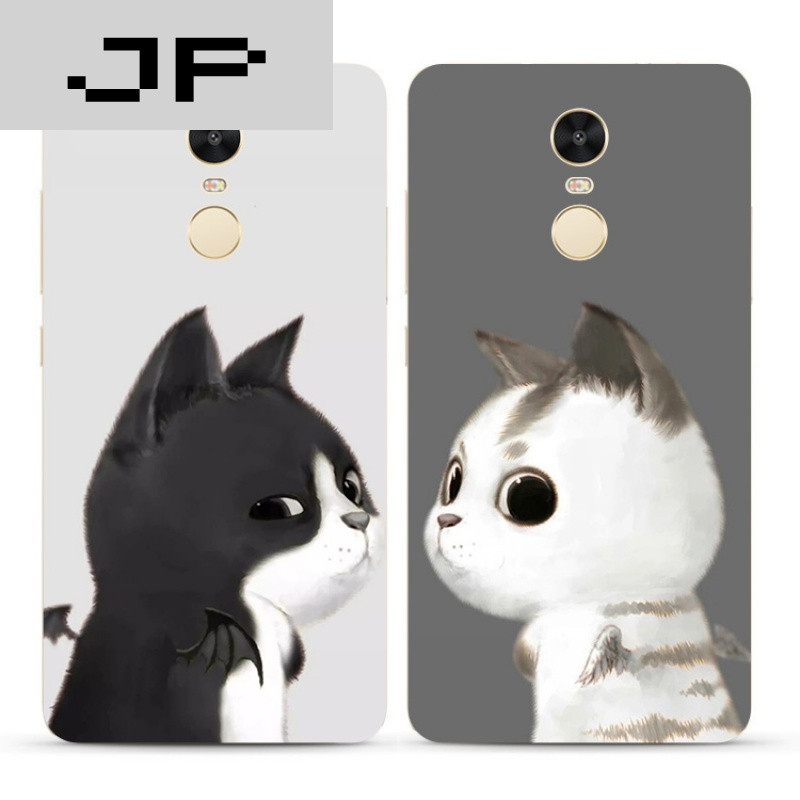 jp潮流品牌可爱卡通手绘猫咪红米note4x 3 4a手机壳全包硅胶软壳防摔