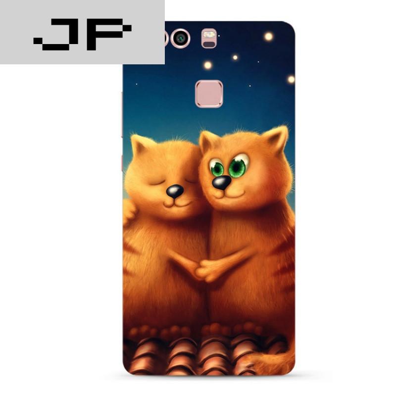 jp潮流品牌可爱卡通手绘华为p8 9plus mate7 8 9 nova手机壳情侣猫咪