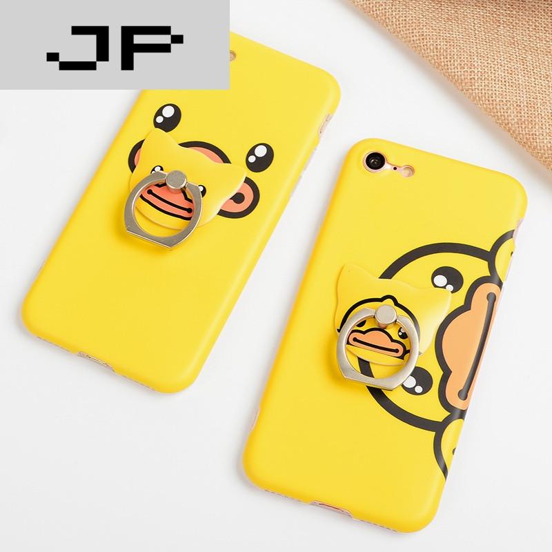 jp潮流品牌小黄鸭指环手机壳 iphone6s可爱卡通苹果6