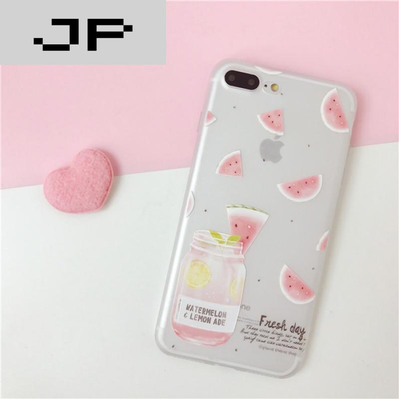 jp潮流品牌小清新西瓜苹果7plus手机壳硅胶6plus磨砂iphone6s保护套超