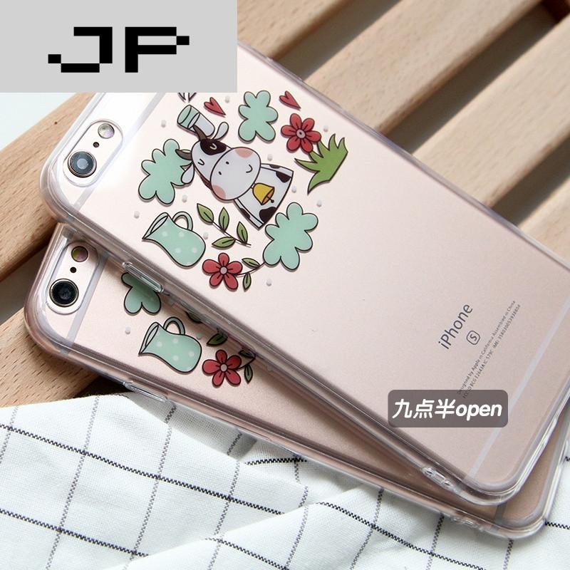 jp潮流品牌韩国可爱奶牛牛奶苹果6/6s手机壳iphone6plus卡通透明全包