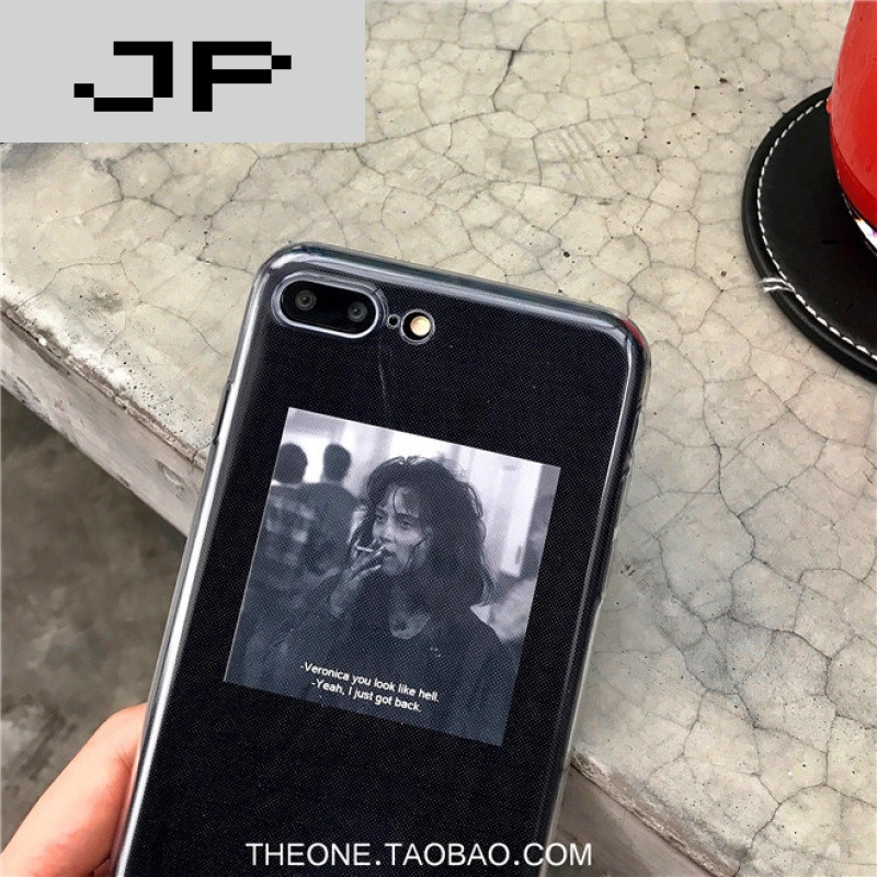 jp潮流品牌ins个性创意小卡片不同背景搭配透明全包iphone6/7plus苹果