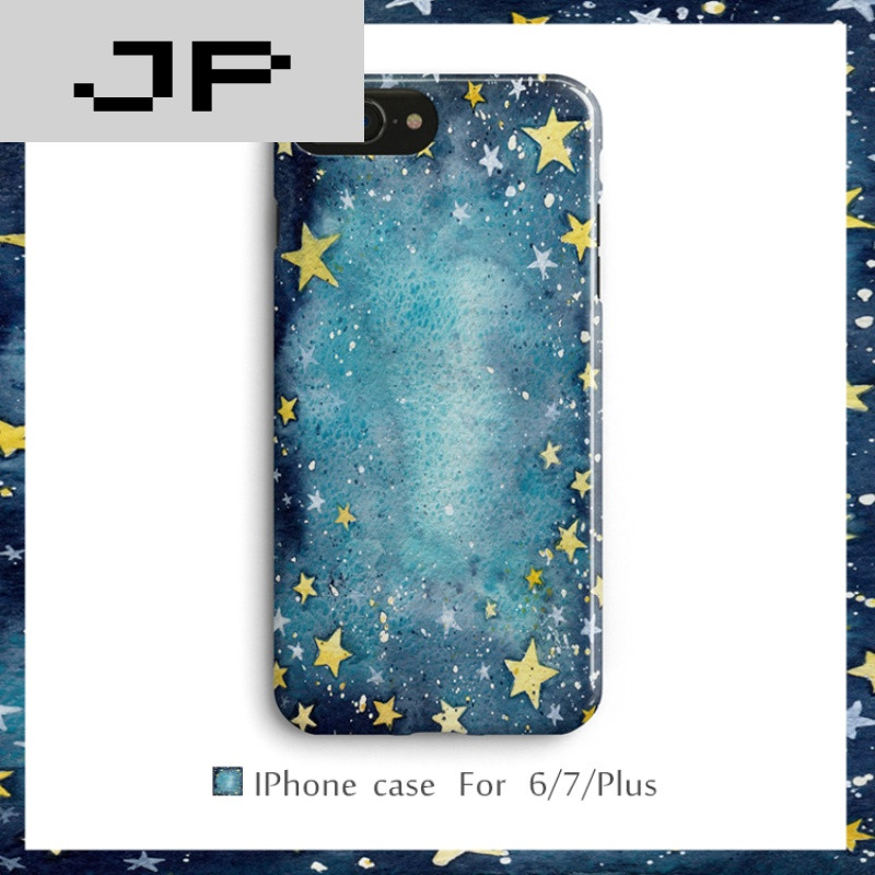 jp潮流品牌创意星星水彩苹果6s手机壳iphone7 6plus保护套全包软壳