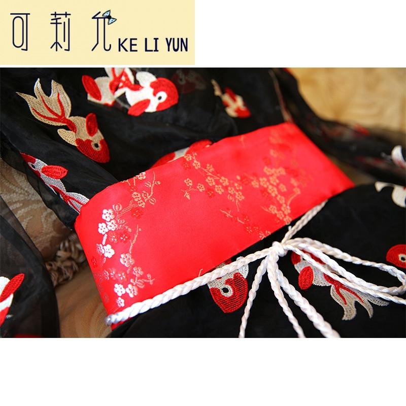 keliyun原创古风百搭古风手工汉服配饰红色织锦织带腰带腰封