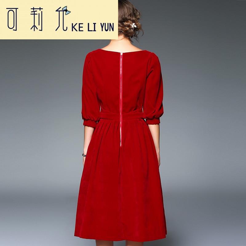 keliyun2017早春圆领红色收腰新娘装女装泡泡袖复古宫廷风连衣裙