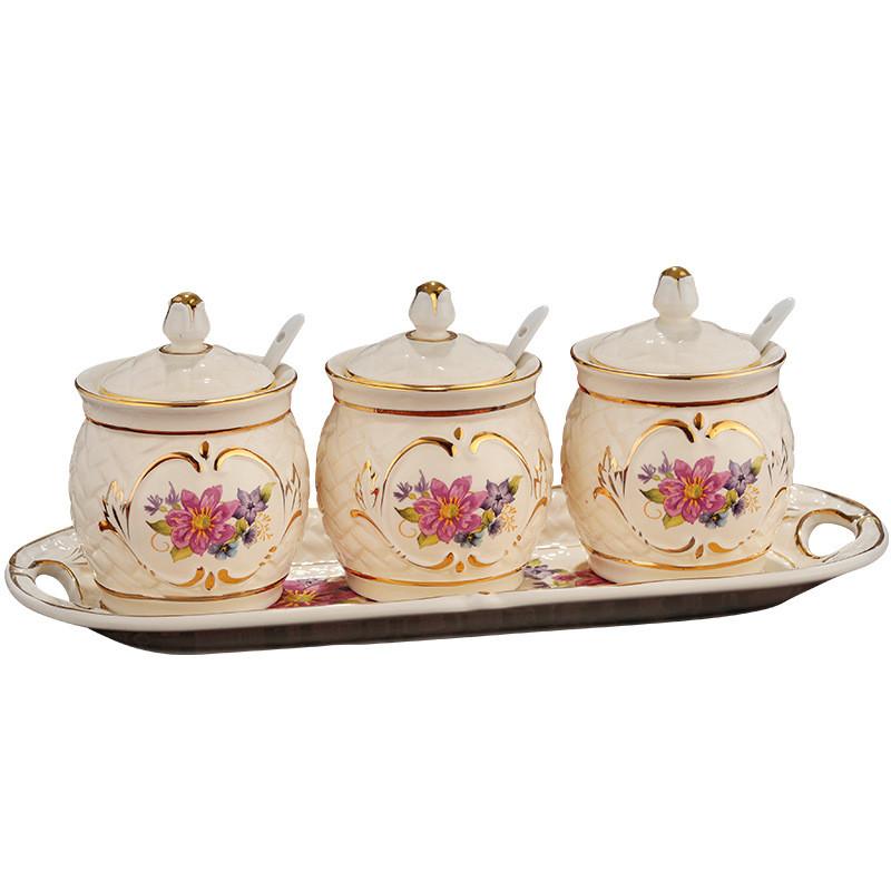 友来福 调料盒陶瓷调味罐欧式调味盒三件套 调味罐套装
