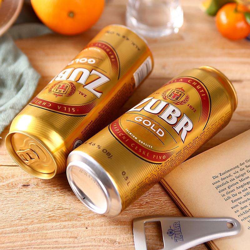 捷克进口啤酒野牛zubr黄金淡味拉格皮尔森黄啤酒500ml