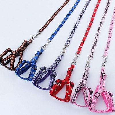 【胸背帶+牽引帶套裝】狗狗貓貓貼布寵物牽引繩帶套裝 背帶款式 狗繩鏈子阿凱他能夠印花糖果色寵物日常出行用