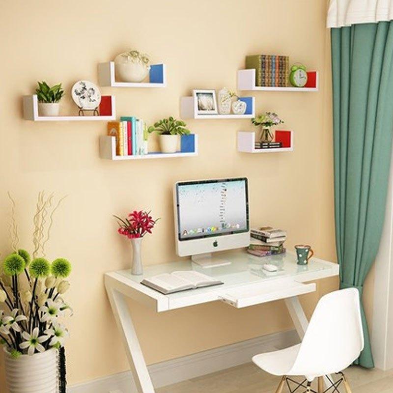 一字形人造板墙上置物架客厅墙壁挂墙面隔板搁卧室多层书架免打孔简