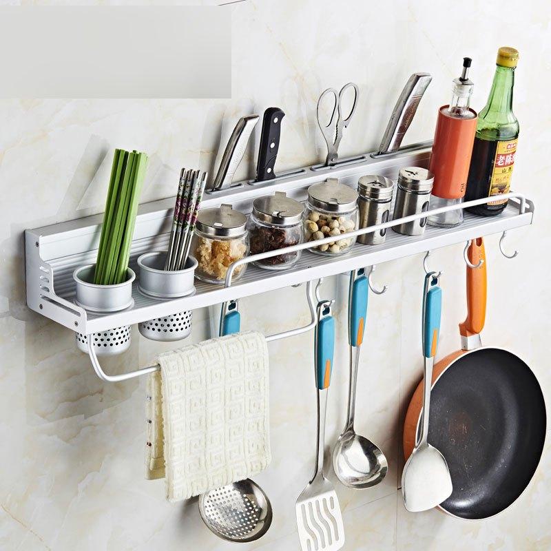 太空铝多功能厨房置物架壁挂架厨具收纳架刀架免打孔挂件调味料架厨卫