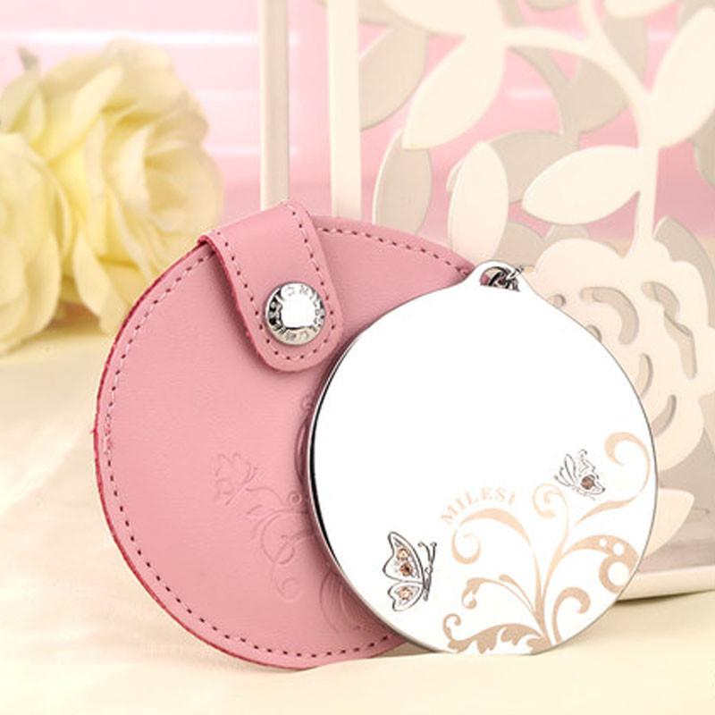现代可爱随身创意化妆镜韩国可爱便携皮套小镜子女士圆形公主美容镜