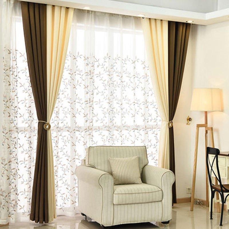 纯色现代加厚拼接窗帘简约卧室客厅纯色全遮光亚麻布料家居家用纺织品