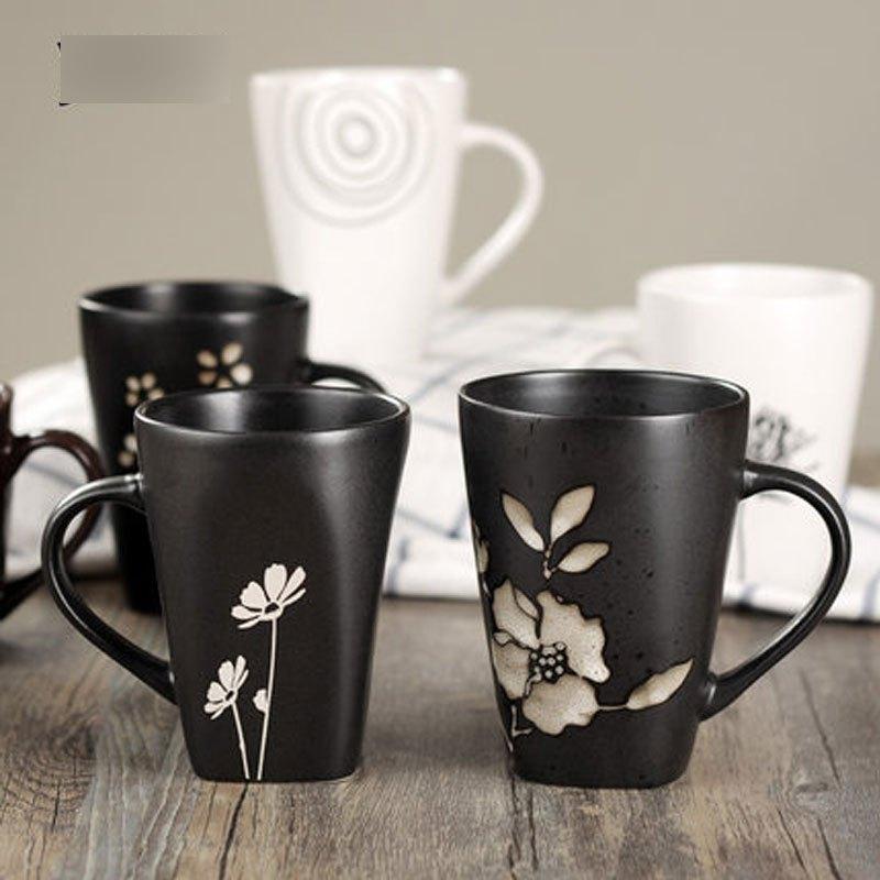 日式和风格调手绘花朵陶瓷杯子马克杯水杯咖啡杯茶杯勺多款多色创意