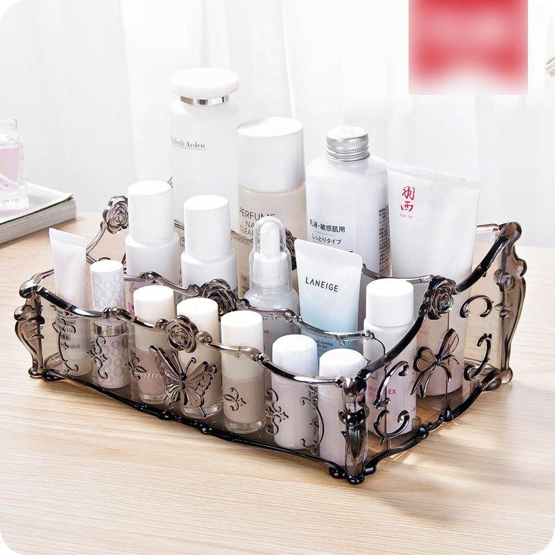 欧式透明多格化妆品收纳盒桌面塑料盒子护肤品整理盒梳妆台储物盒多色