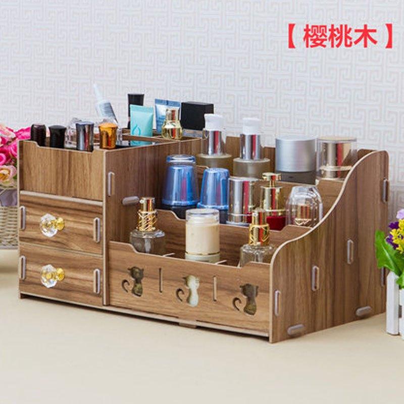 欧式大号木质木制桌面抽屉式化妆品收纳盒梳妆盒家用储物盒收纳箱多色