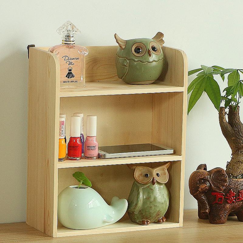 创意木质多层桌面收纳盒化妆品实木置物架收纳柜杂物办公桌面收纳层架