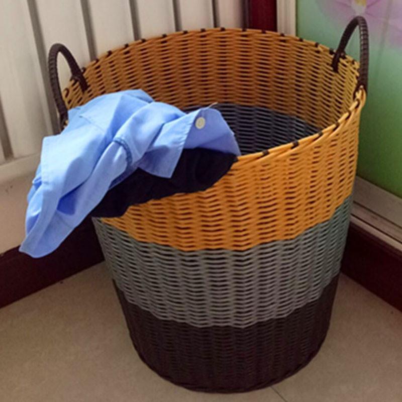 简约时尚塑料仿藤编脏衣服收纳筐浴室洗衣桶玩具框手提衣物折叠洗衣储