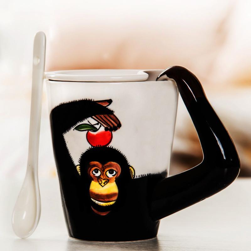 3d立体动物陶瓷杯带盖勺个性情侣水杯创意马克杯卡通牛奶咖啡杯子生活