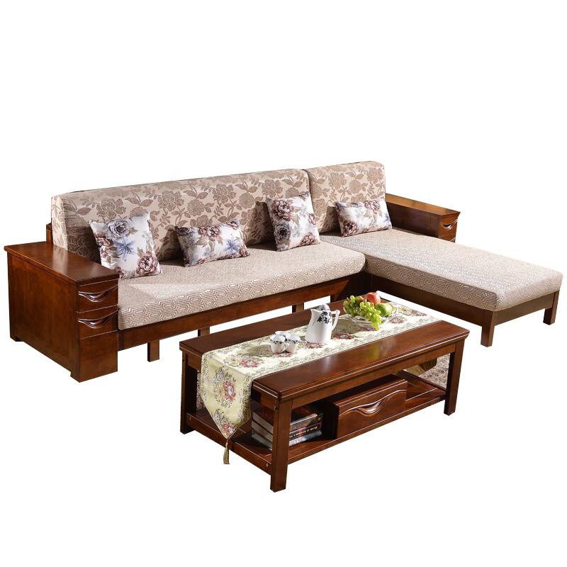 新中式实木沙发组合小户型客厅橡木家具贵妃转角带抽屉布艺沙发床图片
