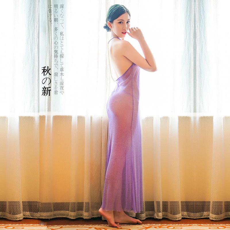 叶子媚女士性感情趣透明v女士闪光睡衣超薄露背晚礼服白色睡裙6193紫色透明内衣长裙三点式图片