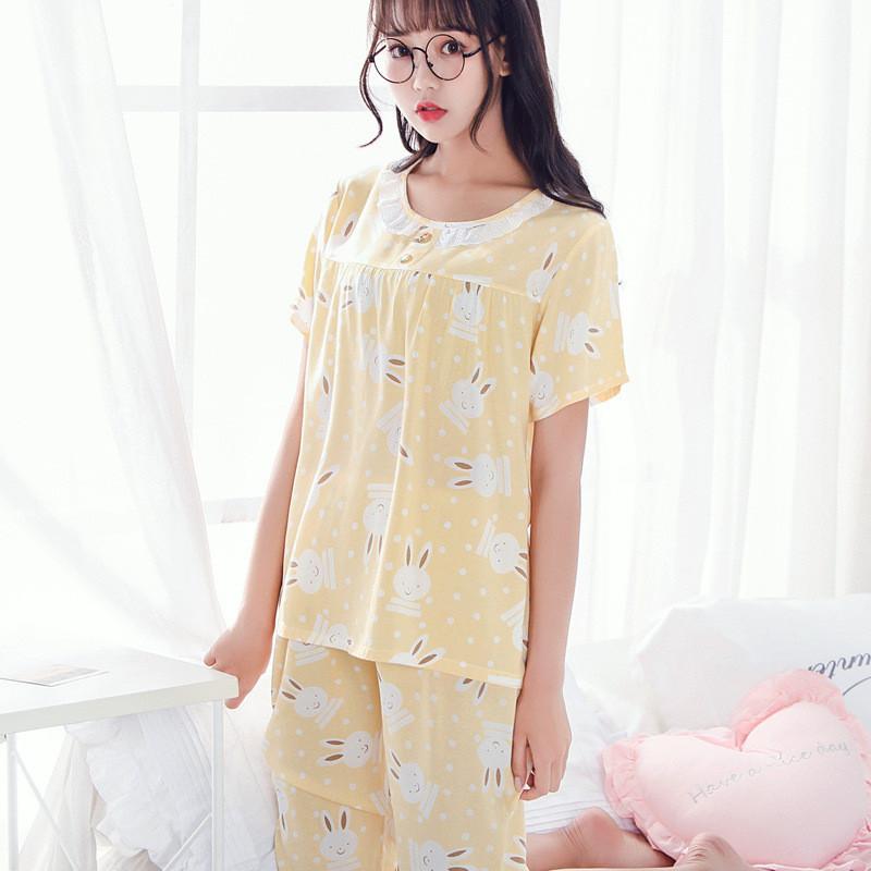 女睡衣夏加大码薄款卡通可爱动物棉绸家居服短袖中裤棉布绵绸套装
