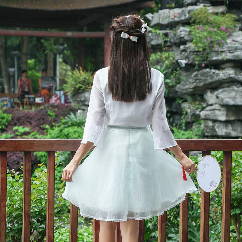2017夏季新款森系小清新复古女装绣花中裙收腰蝴蝶结花边半身裙子