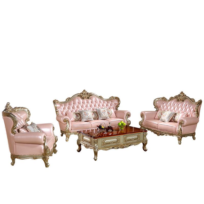 天惠子 欧式真皮沙发头层黄牛皮实木手工雕花沙发组合香槟金色