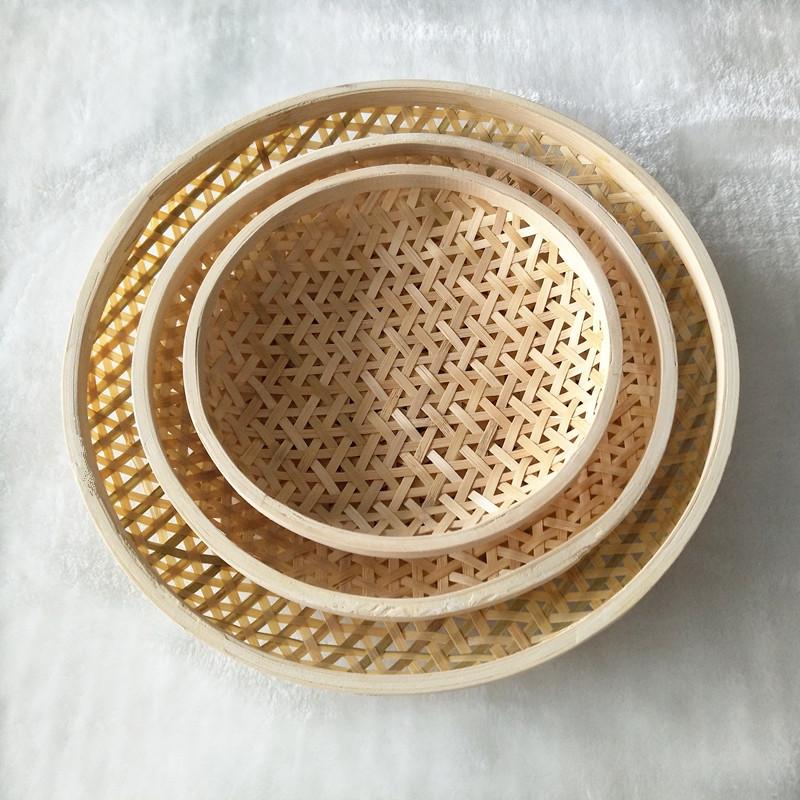 竹编收纳筐圆形笸箩筐馒头筐厨房冰箱用饺子垫水果零食篮馍筐