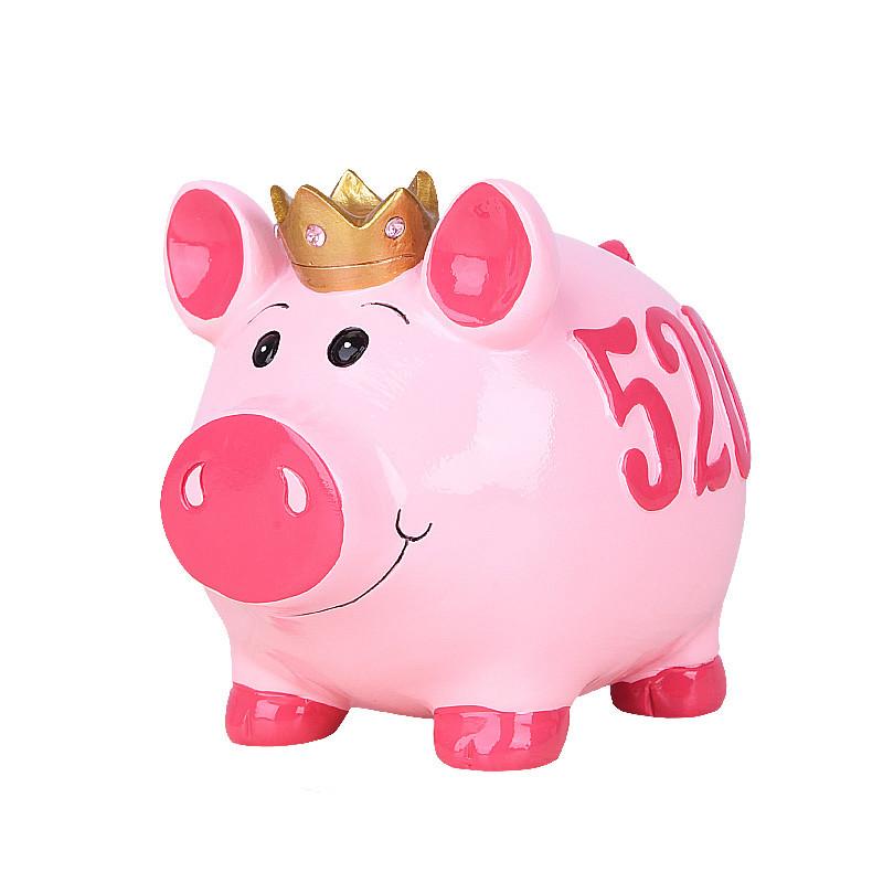 儿童储蓄罐创意小猪摆件家居书房零钱罐硬币储钱罐存钱罐-蓝色520猪钱