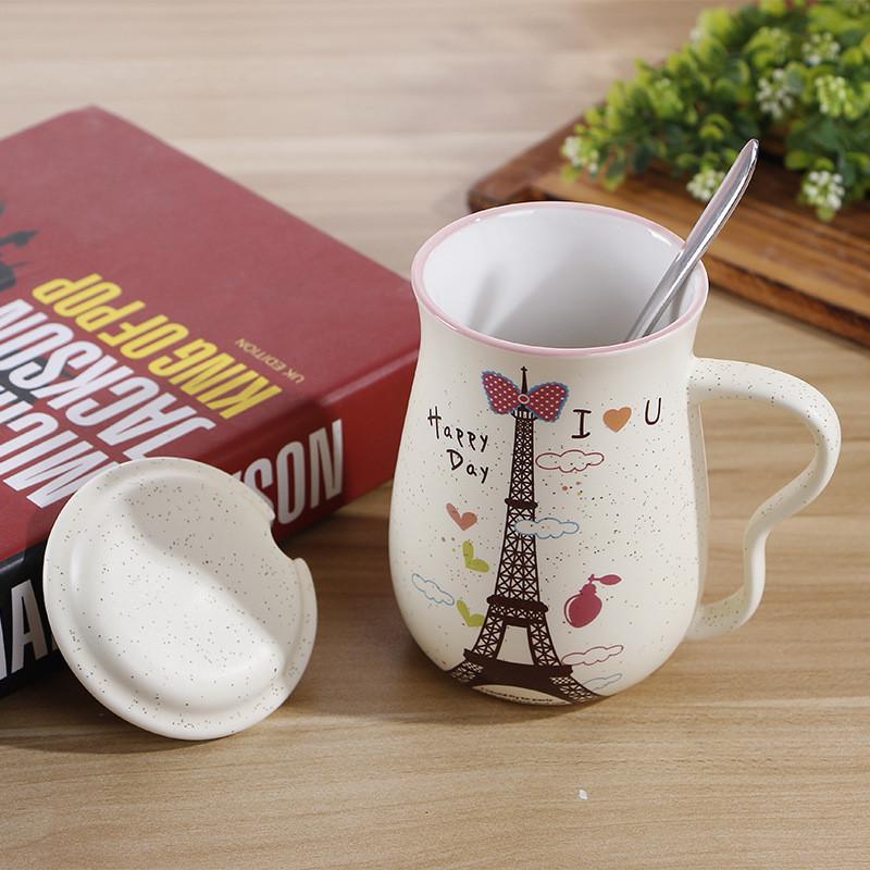 创意陶瓷杯铁塔马克水杯风景图案简约牛奶杯子带盖带勺办公杯
